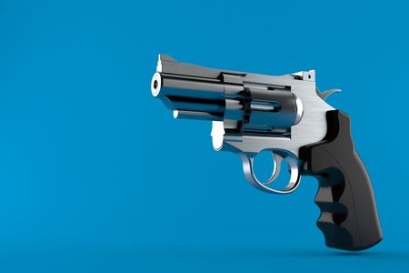 Gun isolated on blue background. 3d illustration