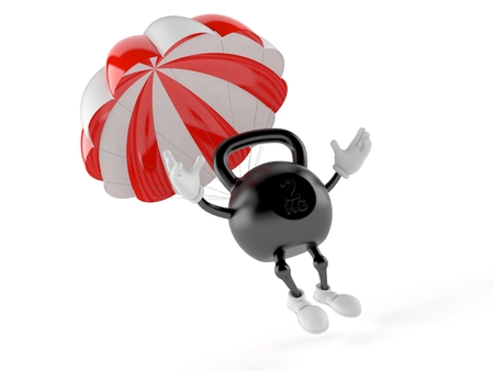 Kettlebell character with parachute isolated on white background. 3d illustration
