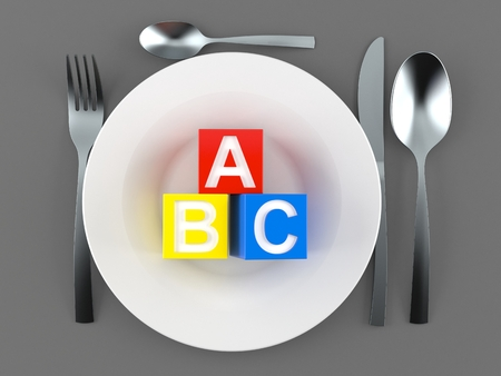 Meal with toy blocks isolated on gray background. 3d illustration