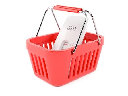 Pregnancy test inside shopping basket isolated on white background. 3d illustration