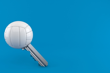 Volleyball ball key isolated on blue background. 3d illustration 写真素材