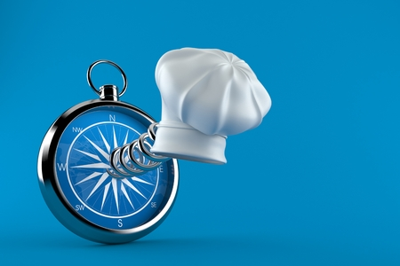 Cooking hat with compass isolated on blue background. 3d illustration