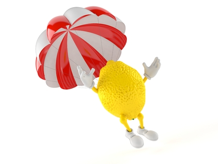 Lemon character with parachute isolated on white background. 3d illustration