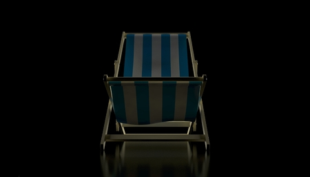 Deck chair on black background. 3d illustration