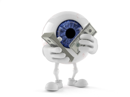 Eye ball character counting money isolated on white background. 3d illustration Stok Fotoğraf