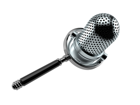 Radio microphone with magnifying glass isolated on white background. 3d illustration