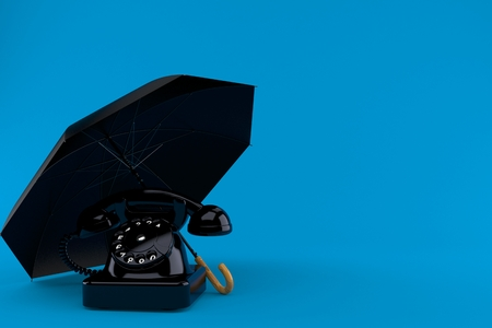 Umbrella with telephone isolated on blue background. 3d illustration