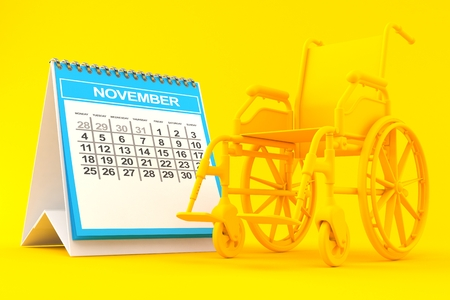 Wheelchair background with calendar in orange color. 3d illustration Stock Photo