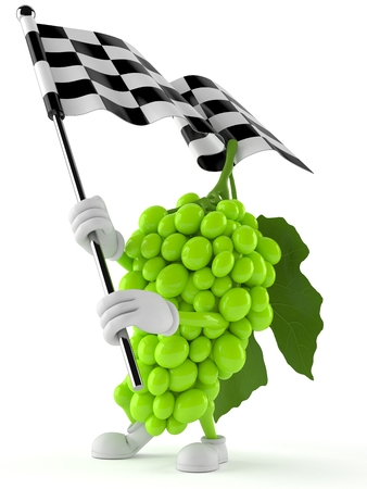 Grapes character waving race flag isolated on white background. 3d illustration
