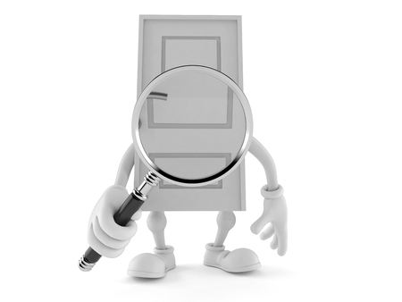 Door character looking through magnifying glass isolated on white background. 3d illustration