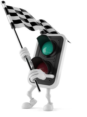 Green traffic light character waving race flag isolated on white background. 3d illustration