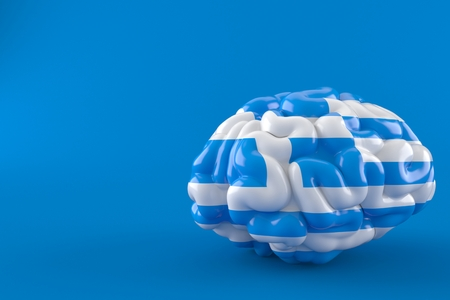 Brain with greek flag isolated on blue background. 3d illustration