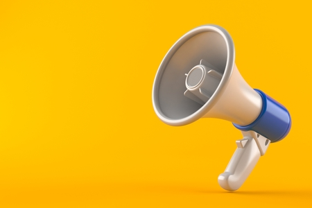 Megaphone isolated on orange background. 3d illustration Stock Photo
