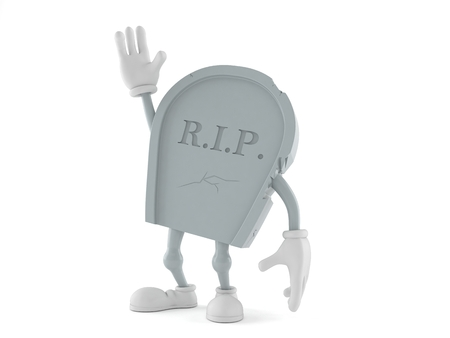 Grave character with hand up isolated on white background. 3d illustration