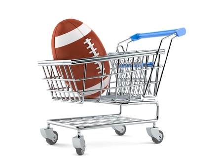 Rugby ball inside shopping cart isolated on white background. 3d illustration