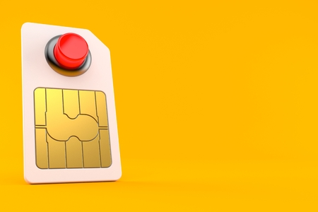 SIM card with red push button isolated on orange background. 3d illustration