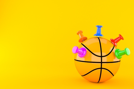 Basketball ball with thumbtacks isolated on orange background. 3d illustration