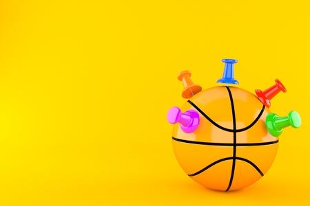 Basketball ball with thumbtacks isolated on orange background. 3d illustration Reklamní fotografie - 104506956
