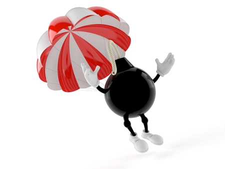 Bomb character with parachute isolated on white background. 3d illustration Stock Photo