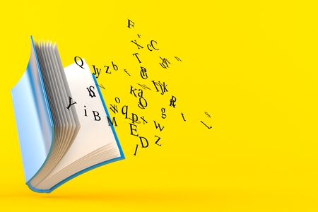 Book with letters isolated on orange background. 3d illustration