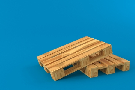 Two palettes isolated on blue background. 3d illustration