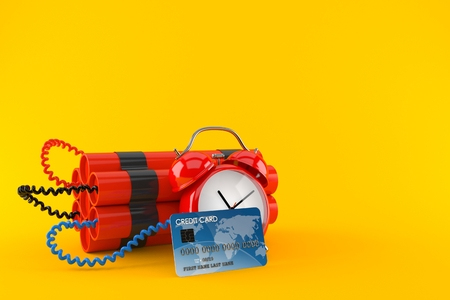 Time bomb with credit card isolated on orange background. 3d illustration Stock Photo