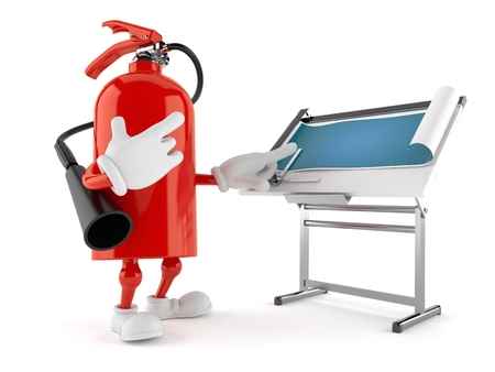 Fire extinguisher character with blueprint isolated on white background. 3d illustration