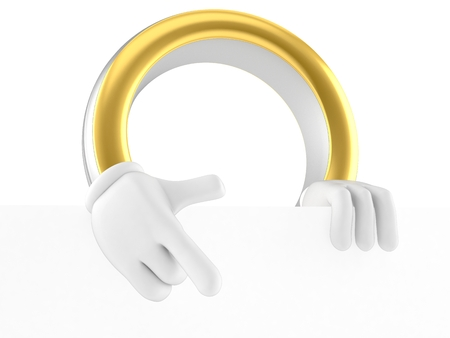 Wedding ring character pointing finger isolated on white background. 3d illustration