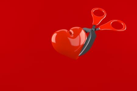 Herz mit der Schere lokalisiert auf rotem Hintergrund. 3D-Illustration
