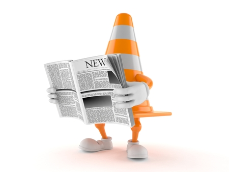 Traffic cone character reading newspaper isolated on white background. 3d illustration