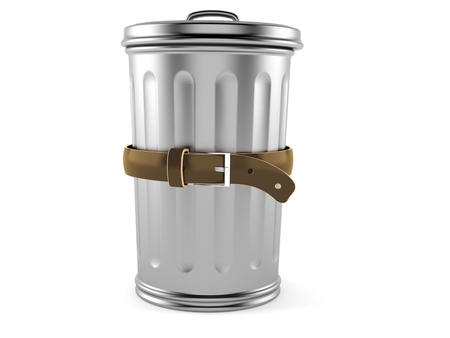Trash can with tight belt isolated on white background. 3d illustration Stock Photo