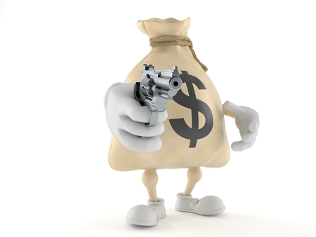 Dollar money bag character aiming a gun isolated on white background. 3d illustration