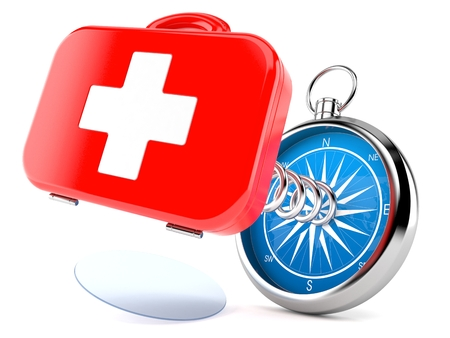 First aid kit with compass isolated on white background. 3d illustration