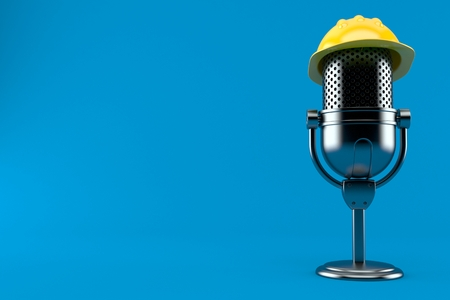 Radio microphone with hardhat isolated on blue background. 3d illustration