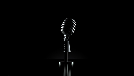 Microphone on black background. 3d illustration