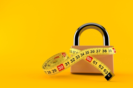 Padlock with centimeter isolated on orange background. 3d illustration