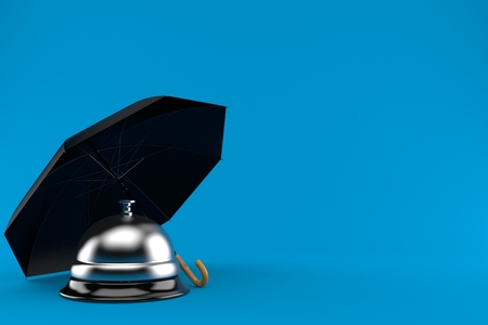 Umbrella with hotel bell isolated on blue background. 3d illustration 스톡 콘텐츠