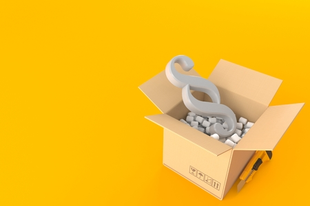 Paragraph symbol inside package isolated on orange background. 3d illustration