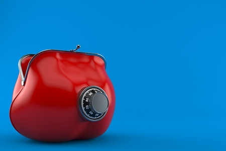 Purse with combination lock isolated on blue background. 3d illustration Stock fotó