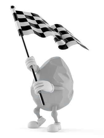 Rock character waving race flag isolated on white background. 3d illustration