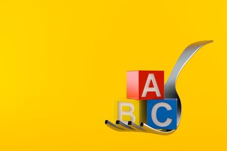Fork with toy blocks isolated on orange background. 3d illustration