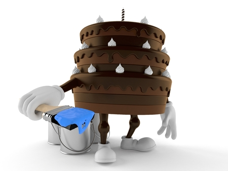 Cake character holding paintbrush isolated on white background. 3d illustration Stock Photo