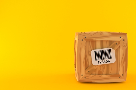 Crate with barcode isolated on orange background. 3d illustration Stock Photo