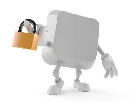 Computer key character holding padlock isolated on white background. 3d illustration