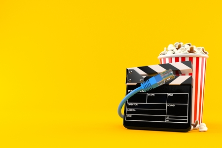 Popcorn and clapboard with network cable isolated on orange background. 3d illustration