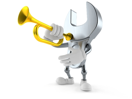 Wrench character playing the trumpet isolated on white background. 3d illustration