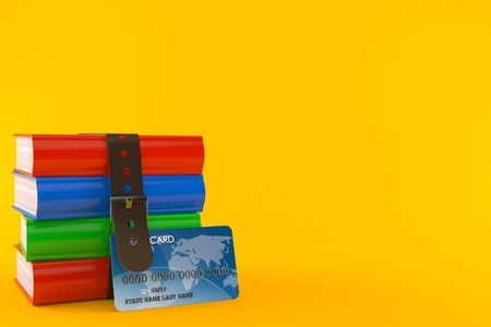 Books with credit card isolated on orange background. 3d illustration