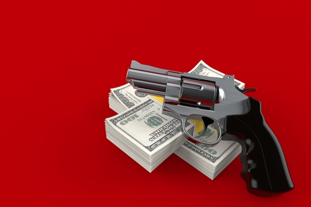 Gun with money isolated on red background. 3d illustration