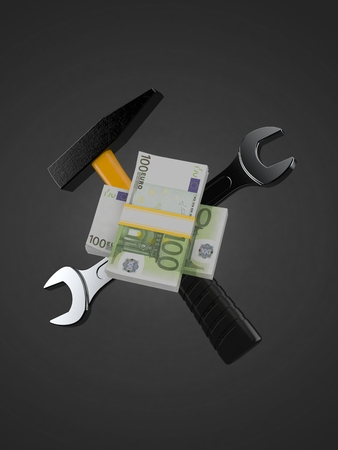 Euro currency with work tools isolated on gray background. 3d illustration Stok Fotoğraf