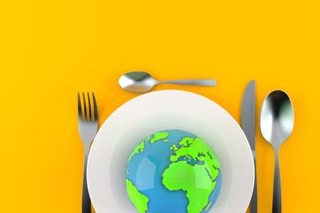 Meal with world globe isolated on gray background. 3d illustration